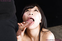 Mouth open licking head of cock