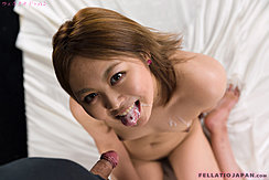 Hidaka Ayano Kneeling Naked Cum In Her Mouth Cum Over Her Breasts