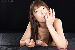 Sucking Cum From Her Fingers Long Hair Falling Over Her Small Breasts