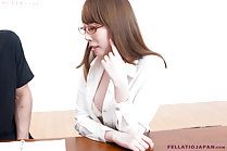 Tutor with student wearing glasses shirt open exposing bra