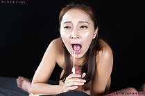 Cum dripping from her open mouth onto spent cock