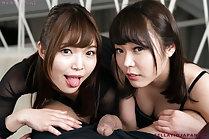 Aoi Shino sharing cock with Kawagoe Yui and cum swapping