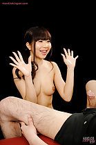 Holding her hands up licked clean of cum nice bare breasts Saaya Sakura smiling with pleasure