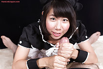Maid Itou Rin giving big cock handjob and tasting cum