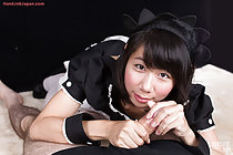 On all fours giving handjob in maid uniform