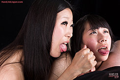 Miyanaga Kaori And Itou Rin Giving Handjob Looking Up Tongues Extended