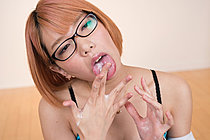 Kobayashi Chie Handjob In Glasses And Licking Cum From Hands