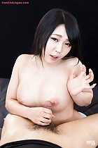 Kawagoe Yui holding spent cock against her breast cum over her tits