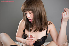 Katou Tsubaki Trailing Saliva Onto Cock Head Giving Handjob