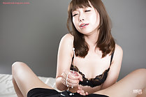 Katou Tsubaki giving handjob cumming in her hand cum shooting from cock head