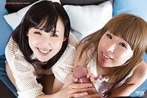 Yokoyama Natsuki and Hotsuki Natsume giving handjob together