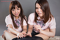 Students Nishino Ena and Momoi Momo giving handjob together