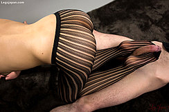 Kneeling Wearing Pantyhose Round Ass Cock Between Her Feet