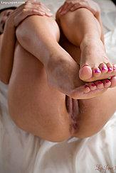 Kagawa Misato Raising Her Bare Feet Hands Resting On Her Knees Exposing Her Labia