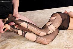 Man Getting Footjob Between Her Feet In Ripped Pantyhose