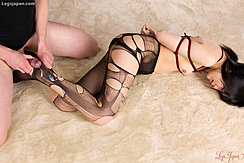Man Cumming Over Her Leg Arms Bound In Torn Pantyhose