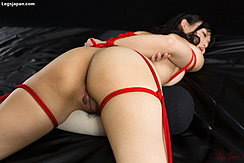Tied With Red Shibari Rope Ass Raised Pussy Exposed