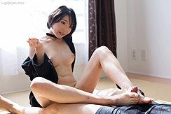 Akari Misaki Looking Up Short Hair Pert Tits Wanking Cock With Her Bare Feet