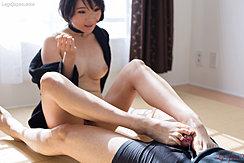 Robe Open Revealing Her Pert Tits Giving Footjob Cum Running From Spent Cock