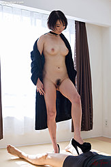 Akari Misaki Removing Robe Short Hair Pert Breasts Naural Bush In Heels Giving Footjob
