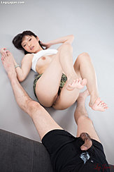 Yurikawa Sara Raising Her Cum Covered Bare Feet Pussy Lips Exposed