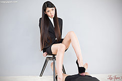 Sitting On Stool Long Hair Office Lady Giving Footjob In High Heels