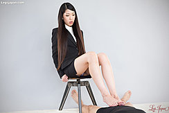 Rubbing Cock Between Her Feet Office Lady Looking Down Sitting On Stool Long Hair