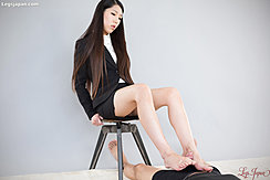 Looking Down At Cum Over Her Bare Feet Long Hair Down To Her Waist