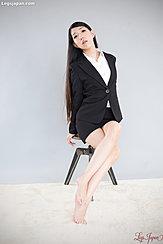 Seated On Stool Long Hair Bare Feet
