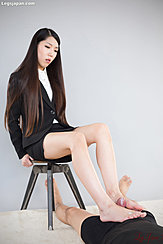 Office Lady Rio Kamimoto Giving Footjob Cock Shooting From Cock Over Her Bare Feet Long Hair