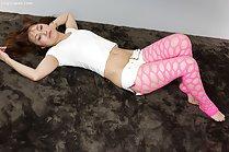 Toudou Yukari giving bare feet footjob in pink leggings