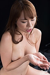 Looking Down At Cum In Palm Of Her Hand Cum Dripping From Her Lips