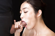 Breasty Enami Ryu on her knees nude sucking cock cum in mouth