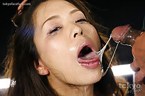Breasty Asakura Mint sucking cock with her hands bound