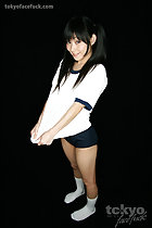 Pull top of gym class uniform white tshirt navy blue shorts white socks long hair