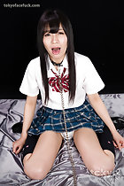 Kurihara Moeka sitting on floor legs open upskirt panties bondage chain around her neck