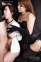 Girl watching her face fucked in black basque in stockings