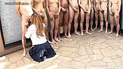 Tanned Rio Kneeling Long Hair Wearing Uniform Line Of Naked Men Stroking Their Cocks