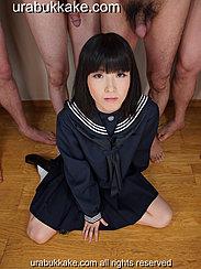 Kneeling In Kogal Uniform In Front Of Naked Men