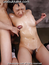 Rubbing cock against her cum covered breasts legs open cum running down between her legs