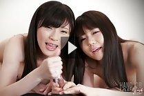 Yurikawa Sara and Araki Mai giving handjob together