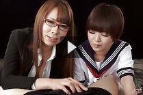 Tutor Kai Miharu teaching kogal Imai Meril how to give handjob