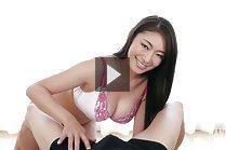 Busty Kobayakawa Reiko strips bra and gives handjob