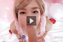 Kasugano Yui sucking lollipop and hard cock